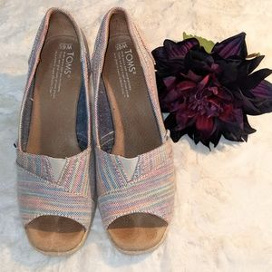 TOMS Calypso Peep Toe Wedge, Multicolored Stripes